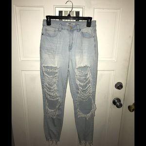 YMI high rise ripped, light denim jeans